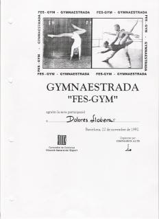 Diploma de Fes Gym festival de danza de Barcelona.